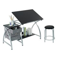 Craft Table With Storage Stool Included  www.bobbiejosonestopshop.com  #BobbieJosOneStopShop #DraftingTable #Crafts #Desk #Dorm #Sewing #Adult #Storage #Chair #Artist