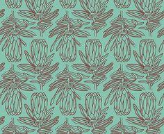 Small Line Protea </br> Apple Red on Aqua Red Apple, Line, Aqua, Colours, Wallpaper, Fabric, Prints, Collections, Design