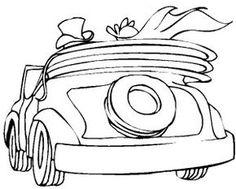 Das Hochzeitsauto–Cabrio Ausmalbild aus der Kategorie Hochzeit bringt viel Spaß — drucken Sie die Window Color Vorlage Hochzeitsauto–Cabrio einfach aus!