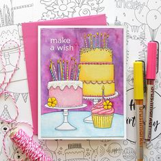make a wish - Suzy Plantamura Birthday Sweets, Happy Birthday Cards, Colour Pencil Shading, My Favorite Color, My Favorite Things, Make A Wish, How To Make, Pen And Watercolor, Simon Says Stamp