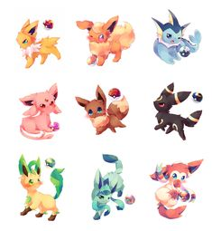 ⠀ Aww look at these cute Eeveelutions! Giratina Pokemon, Pokemon Eeveelutions, Eevee Evolutions, Pokemon Fan Art, My Pokemon, Pikachu, Anime Chibi, Anime Manga, Pokemon Mignon