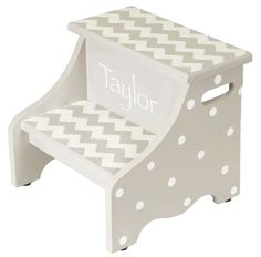 2 step hand painted gray chevron step stool on Etsy, $90.00