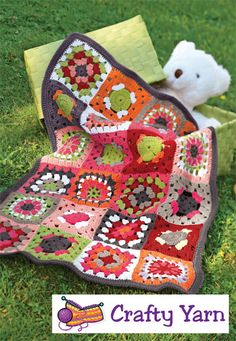 This colourful blanket gives a modern twist to the granny square, making it perfect for any new arrival.