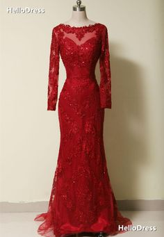 Long Sleeves Court Train Red Lace Evening Dress Prom Gown with Sequins on Storenvy