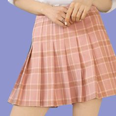 high waist Tumblr Aesthetic Pleated Skirt -PEACH/GREY