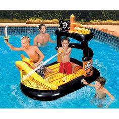 pirate+boats+for+kids | Banzai Ahoy Matey Inflatable Pirate Ship with Water Blaster