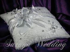 White Satin White Lace Wedding Ring Bearer by SarayaWeddings