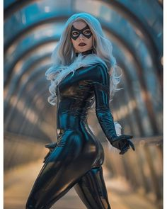 """""""Meanwhile I'm producing new costumes, photos and ideas, I would like to share with you a never seen Black Cat picture I took with a while ago. Marvel Comics, Marvel 3, Marvel Girls, Comics Girls, Black Cat Marvel, Latex Cosplay, Cosplay Costumes, Spiderman, Black Cat Cosplay"""