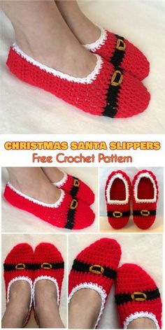 Christmas Santa Slippers Socks [Free Crochet Pattern] Follow us for ONLY FREE crocheting patterns for Amigurumi, Toys, Afghans and many more!