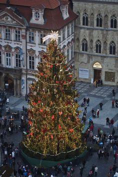 Pin for Later: Tour du Monde des Plus Belles Décorations de Noël  Sapin de Noël géant à Prague.