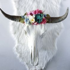 Colorful Spring Meadow Floral Crown Steer Skull, cow skull. painted skulls, bohemian decor, animal head, wall hanging, wall art, boho, horns