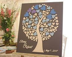 JubileeTree Wedding Guestbook Alternative Personalized Guest book Tree of life wood hearts Unique Creative gift ideea Guest book Pen Sign in Creative Gifts, Unique Gifts, Guest Book Tree, Wooden Easel, Wooden Chest, Guest Book Alternatives, Guestbook, Writing Instruments, Wedding Guest Book
