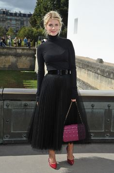Mélanie Laurent at the Christian Dior Spring/Summer 2013 Show at Paris Fashion Week in Paris, France - September 2012 Fashion Week, Look Fashion, Fashion Models, Fashion Show, Paris Fashion, Winter Fashion, Womens Fashion, Black Tulle Skirt Outfit, Skirt Outfits