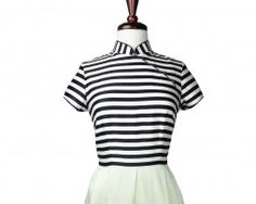 Chic modern qipao! Black and white stripes top with mint colored skirt!