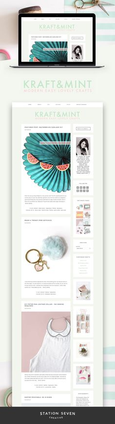Bright and colorful craft blog by Kraft & Mint running on Station Seven's Matchstick WordPress theme.