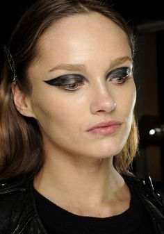 Top make-up trends for the fall 2012: Greasy black eyeliner at Lanvin.    At Lanvin eyeliner flowed, dripped and ran into the creases of the eyes for an imperfect effect that retained an impeccable cat-eye look.