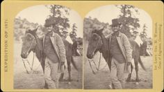 """Fred W. Loring. Creator(s) O'Sullivan, Timothy H., 1840-1882. Summary Fred W. Loring poses with his arm over a mule's withers and holds the bridle reins near Prescott (Yavapai County), Arizona. Loring has a beard, and wears a top hat and a buttoned tunic under a worn coat. Shows a man beside a tepee in the distance."" Courtesy: Western History/Genealogy Department, Denver Public Library, Denver, Colorado (USA)."