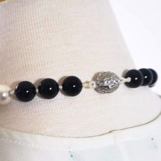 FBT - Black and White Glass Pearls Beaded Necklace - 18 inches / Black/White