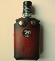 Leather Whiskey Bottle Holster~don't drink and drive ~walk or call a taxi~