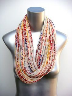 Yellow Infinity Scarf - Circle Scarf Jersey - Statement Chunky Necklaceâ?¦