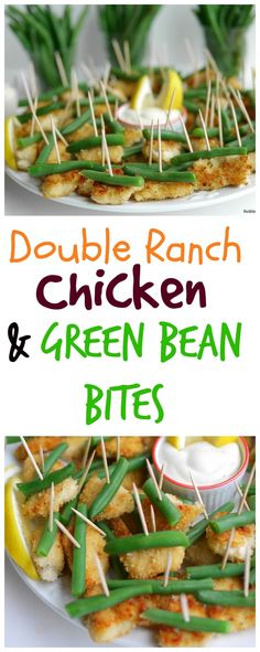 Double Ranch Chicken and Green Bean Bites. These are so great for family game night! Fun Easy Recipes, Easy Appetizer Recipes, Appetizers For Party, Easy Meals, Top Recipes, Delicious Recipes, Best Side Dishes, Side Dish Recipes, Ranch Chicken