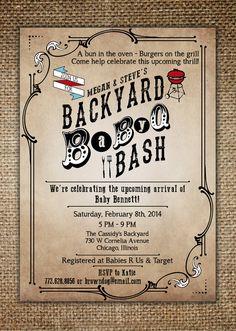 Baby Shower Invitation Baby BBQ Backyard BaByQ by BrownDogPress, $18.00...Lee Hutto approved :)