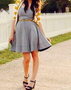 Yellow & white stripped cardigan + navy blue & white old fashion flare dress