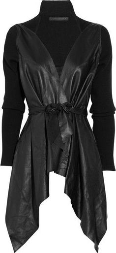 VICTORIA BECKHAM Draped Leather Jacket Undo string tie and wear loose as I am short waisted