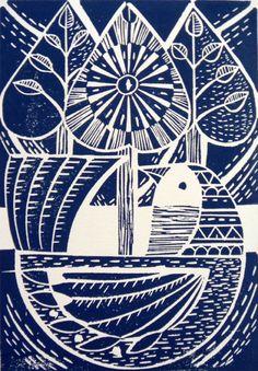 Folk pájaro azul y árboles originales Lino Cut Imprimir
