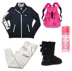 """""""PINK and Uggs❤️"""" by savannahhopkins1 on Polyvore featuring Victoria's Secret"""