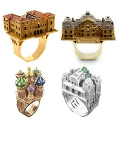 Wear your love for architecture on your finger with platinum or gold diamond rings shaped like buildings. Parisian jeweler Philippe Tournaire recreates structures from around the world including his home city, Moscow, New York and more, and has even made replicas of entire city blocks.