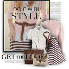 Love the layered pink cardi & ruffled white blouse. Pink White Brown Taupe