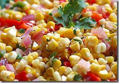 Summer Corn Salad- a great side dish with barbeque or Mexican food!  I substitute lime juice for the vinegar in the dressing and add a dash of hot sauce. Very light and so good!