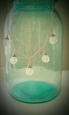 Clear Fried Marble Necklace by Mysticglassduo on Etsy, $25.00