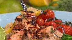 Healthy salmon and dill skewers