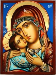 High quality hand-painted Orthodox icon of The Virgin Glykofilousa. BlessedMart offers Religious icons in old Byzantine, Greek, Russian and Catholic style. Religious Icons, Religious Art, Spiritual Paintings, Paint Icon, Blessed Mother Mary, Byzantine Icons, Madonna And Child, Figure Painting, Diy Painting