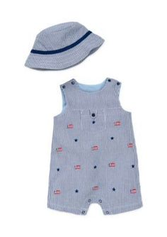 Little Me Blue 2-Piece Flag Hat and Romper Set