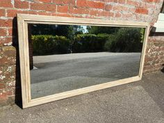 ref: 1971  161cm x 80cm Antique Landscape/Portrait Mirrors - A Highly useful large Antique 19th Century French carved wood painted bistro Mirror with original mercury mirror and backboards, can be used landscape or portrait.  Measurements:  1 mere 61 cm high  80 cm wide