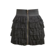 Knit Lace Tiered Skirt - Teen Clothing by Wet Seal ($13) ❤ liked on Polyvore