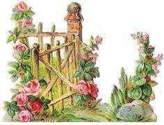 Free freebie printable vintage diecut scrap garden gate
