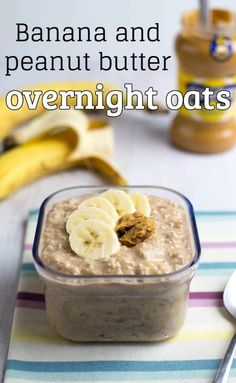 Banana and peanut butter overnight oats - just the thing for a busy morning! A couple of minutes' effort the night before, and you've got a grab-and-go breakfast for the next morning. They're super easy, they're super tasty, and they're healthy too! Vegetarian, vegan and gluten-free.