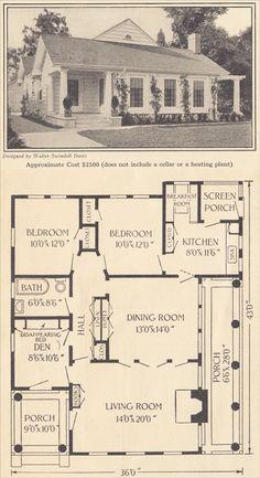 1916 Single Story Modern Colonial - Ladies Home Journal - Walter Swindell Davis