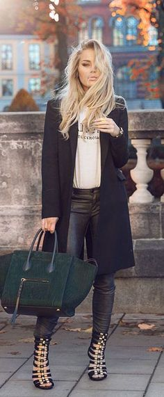 winter fashion leather coat