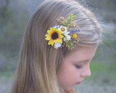 Sunflower & Baby's Breath Hair Clip baby's by BohoHaloCompany