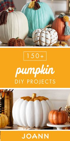 Check out this collection of 150 Pumpkin DIY Projects from JOANN to see how easy it can be to make your own pumpkin-themed decorations this fall! Autumn Crafts, Thanksgiving Crafts, Thanksgiving Decorations, Holiday Crafts, Holiday Fun, Halloween Decorations, Christmas Ideas, Halloween Pumpkins, Halloween Crafts