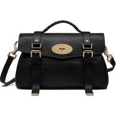 Mulberry Alexa (5.560 BRL) ❤ liked on Polyvore featuring bags, handbags, black, satchel purse, strap purse, handbag satchel, woven bag and mulberry handbags