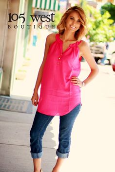 """Pretty In Pink!! We LOVE our new """"Flynn"""" Halter Blouse and we know you will too!!! Available in S, M & L $38.00! In Store & Online!"""