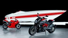 """DUCATI EDITION $700,000.00 CIGARETTE BOAT... It's hard to delineate between the brand """"Cigarette"""" and the legend of the cigarette boat as a generic term. Extremely fast planing boats have been used for three quarters of a century in the waters off the American coast to smuggle high value contraband. Originally, they were called """"rum runners"""" during the prohibition, then the term cigarette boat came into vogue when cigarettes were being smuggled from Canada to avoid duties."""