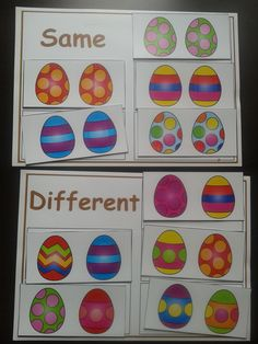Same or Different- Easter Eggs, for more resources follow https://www.pinterest.com/angelajuvic/autism-special-education-resources-angie-s-tpt-sto/