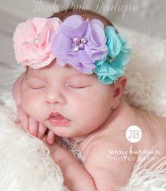 Baby Headband,Baby Headbands,Easter Headband,Newborn Headband,Shabbby Chic Flower Headband, Chiffon Baby Headband, Baby Headbands,Hair Bows.